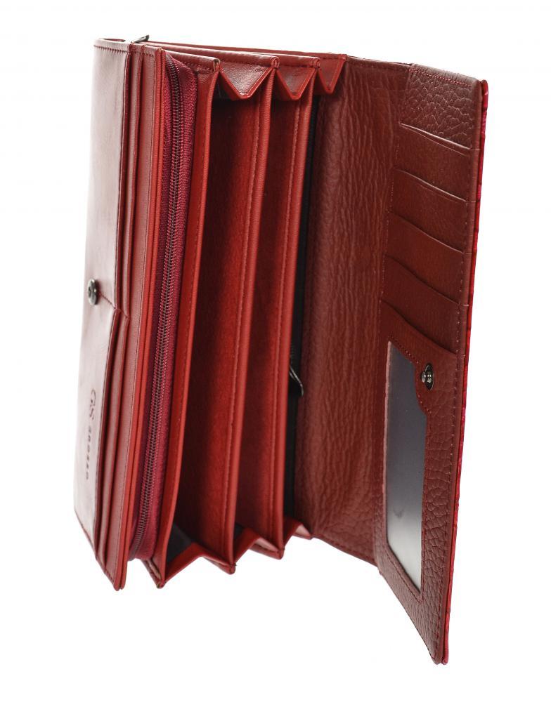GROSSO Kožená dámská peněženka v květovaném motivu RFID červená v dárkové krabičce