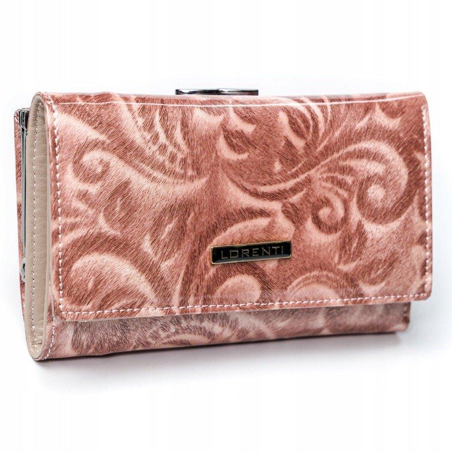Lorenti Kožená ružová lakovaná vzorovaná dámska peňaženka v darčekovej krabičke