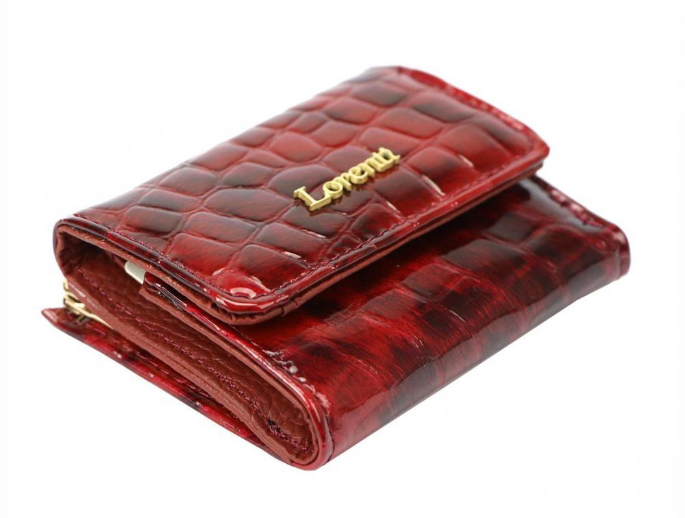 Kožená červená malá hrubá dámska peňaženka RFID v krabičke Lorenti