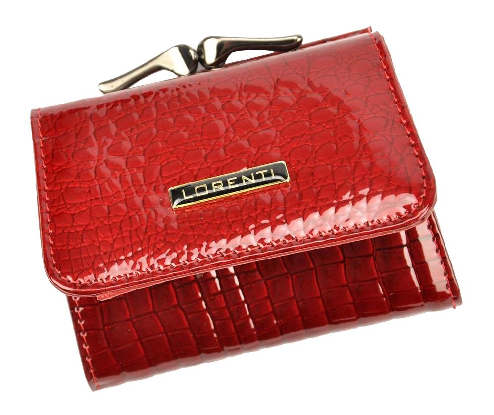 Kožená červená malá dámská kroko peněženka v krabičce Lorenti