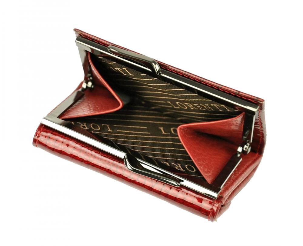 Kožená červená malá dámska kroko peňaženka v krabičke Lorenti