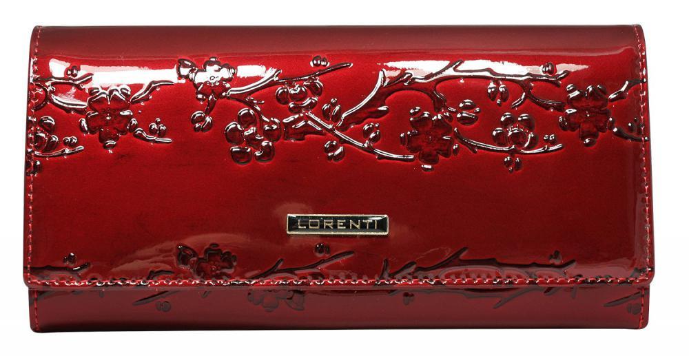 Lorenti červená dámska kožená peňaženka s kvetmi v darčekovej krabičke