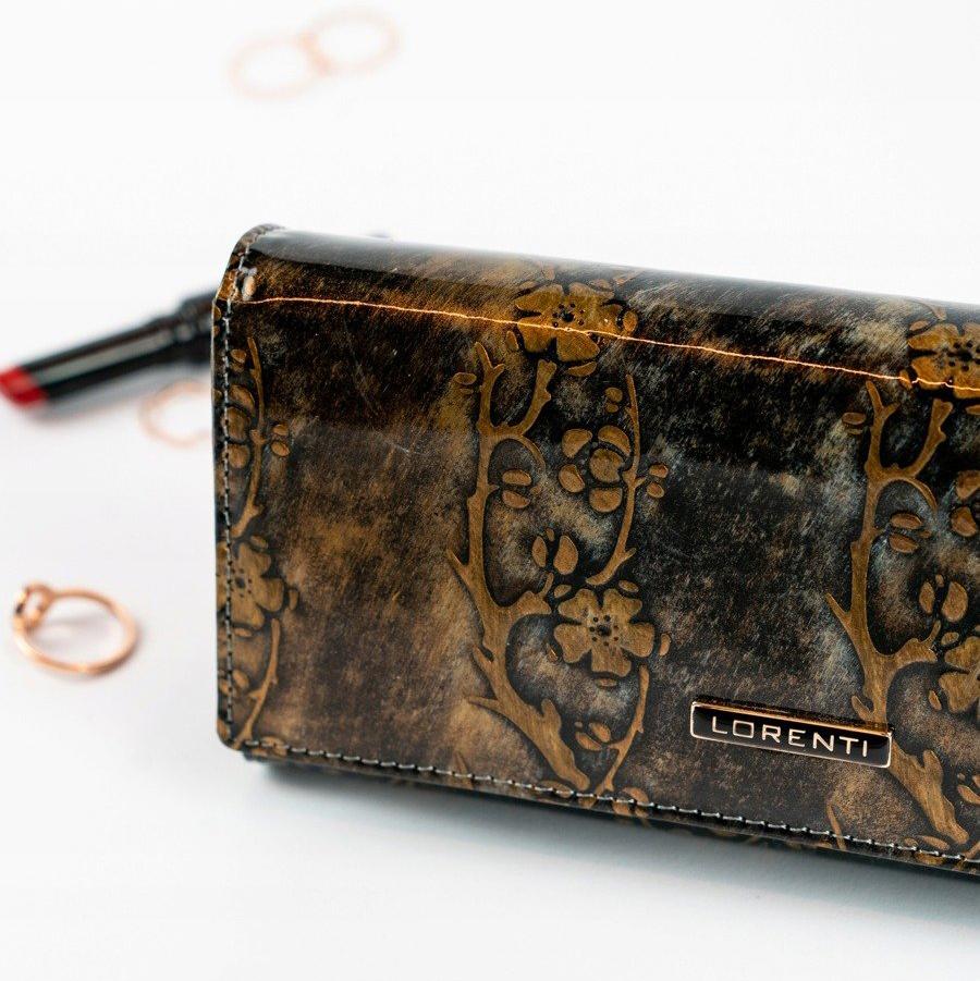 Lorenti zlatá dámska kožená peňaženka s kvetmi v darčekovej krabičke