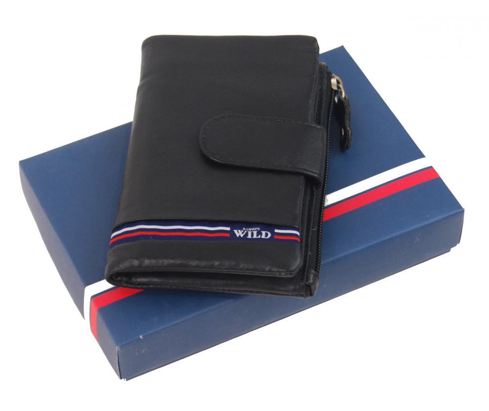 Čierna dámska kožená peňaženka WILD v krabičke
