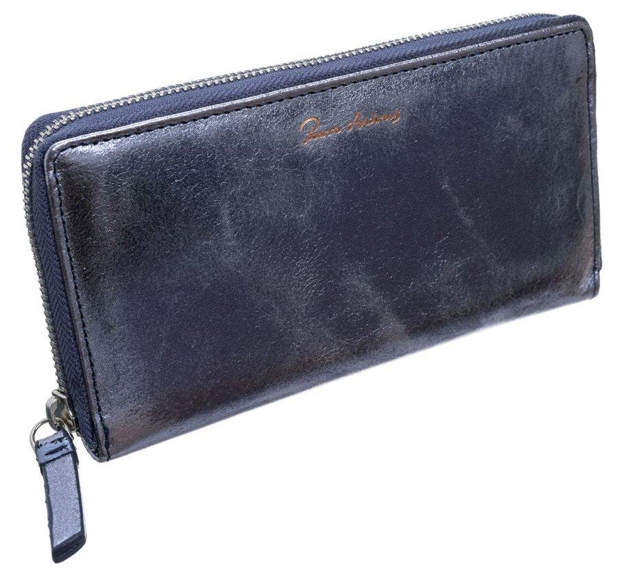 Pierre Andreus Modrá metalická dámská kožená peněženka RFID v dárkové krabičce