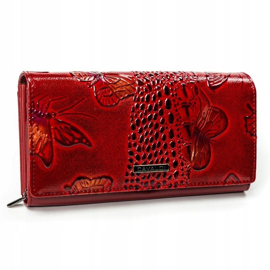 Cavaldi červená dámská hrubá peněženka kůže/PU s motýly v dárkové krabičce