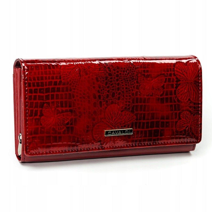 Cavaldi červená dámská lakovaná peněženka kůže/PU s motýly v dárkové krabičce