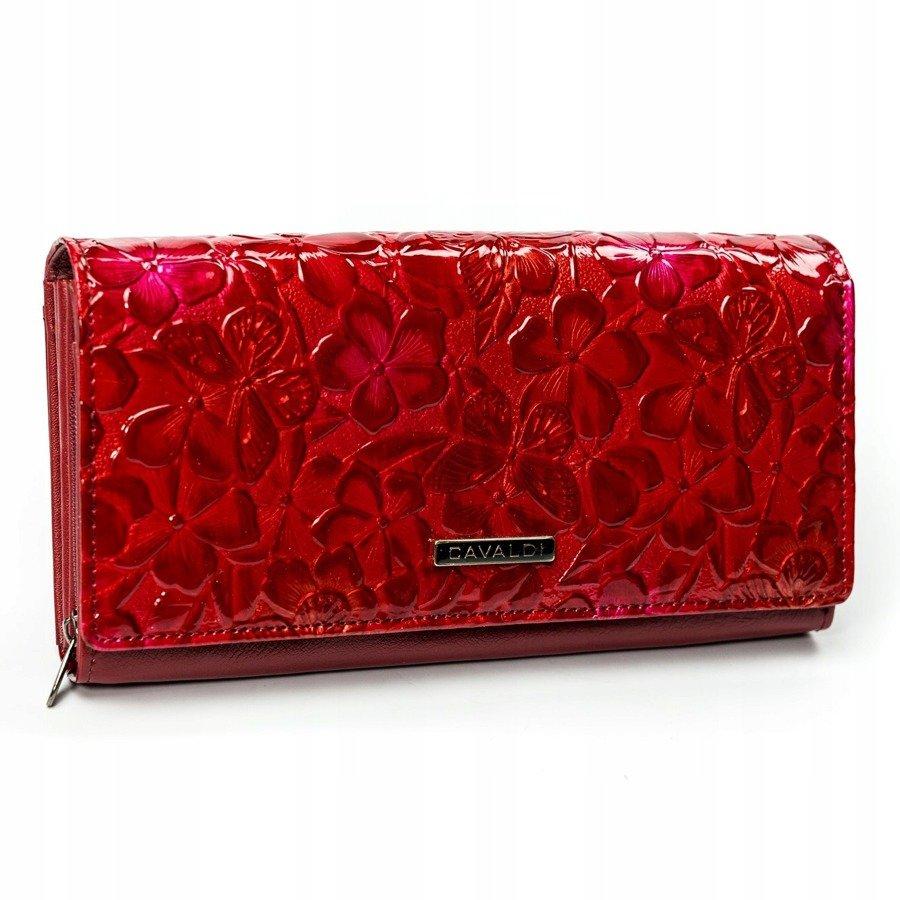 Cavaldi červená dámská peněženka kůže/PU s motýly v dárkové krabičce