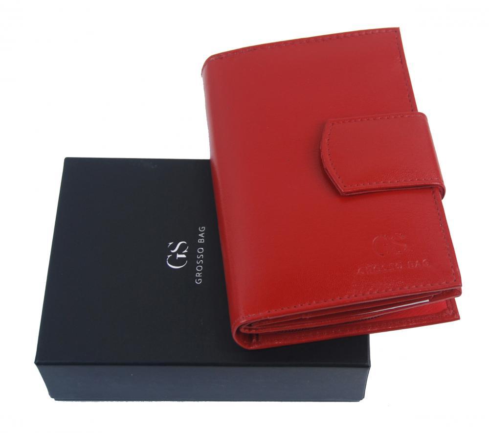 Kožená dámská červená peněženka v dárkové krabičce GROSSO