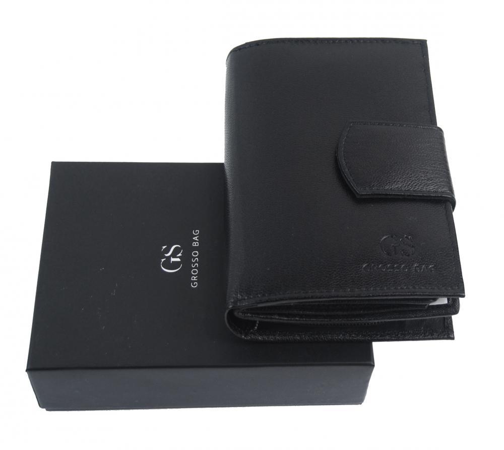 Kožená dámská černá peněženka v dárkové krabičce GROSSO
