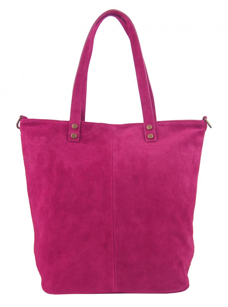 Kožená velká fuchsiová broušená praktická dámská kabelka