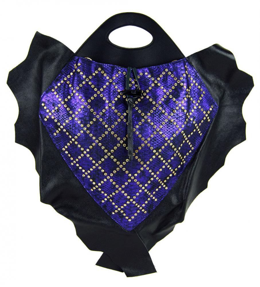 Fialová luxusní výstřední kožená dámská kabelka