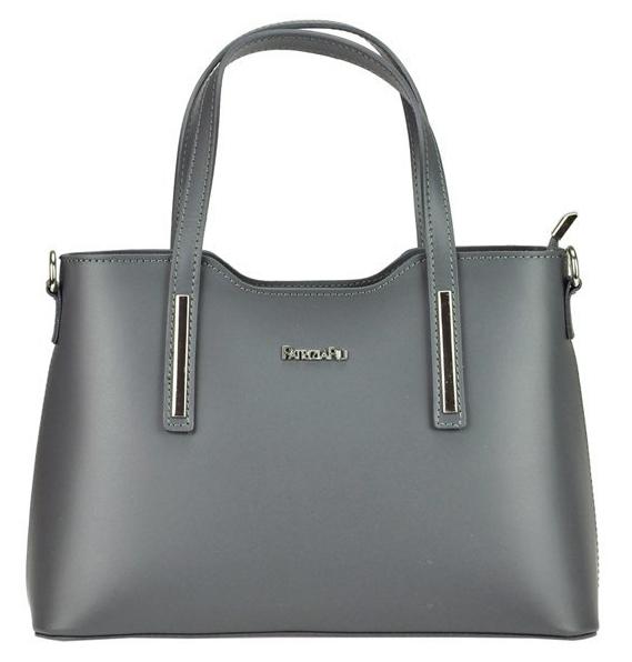 Tmavo sivá kožená dámska kabelka do ruky Patrizia Piu