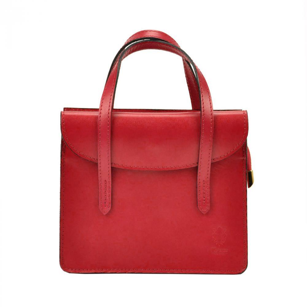 Kožená červená crossbody kabelka do ruky v minimalistickém designu Gregorio
