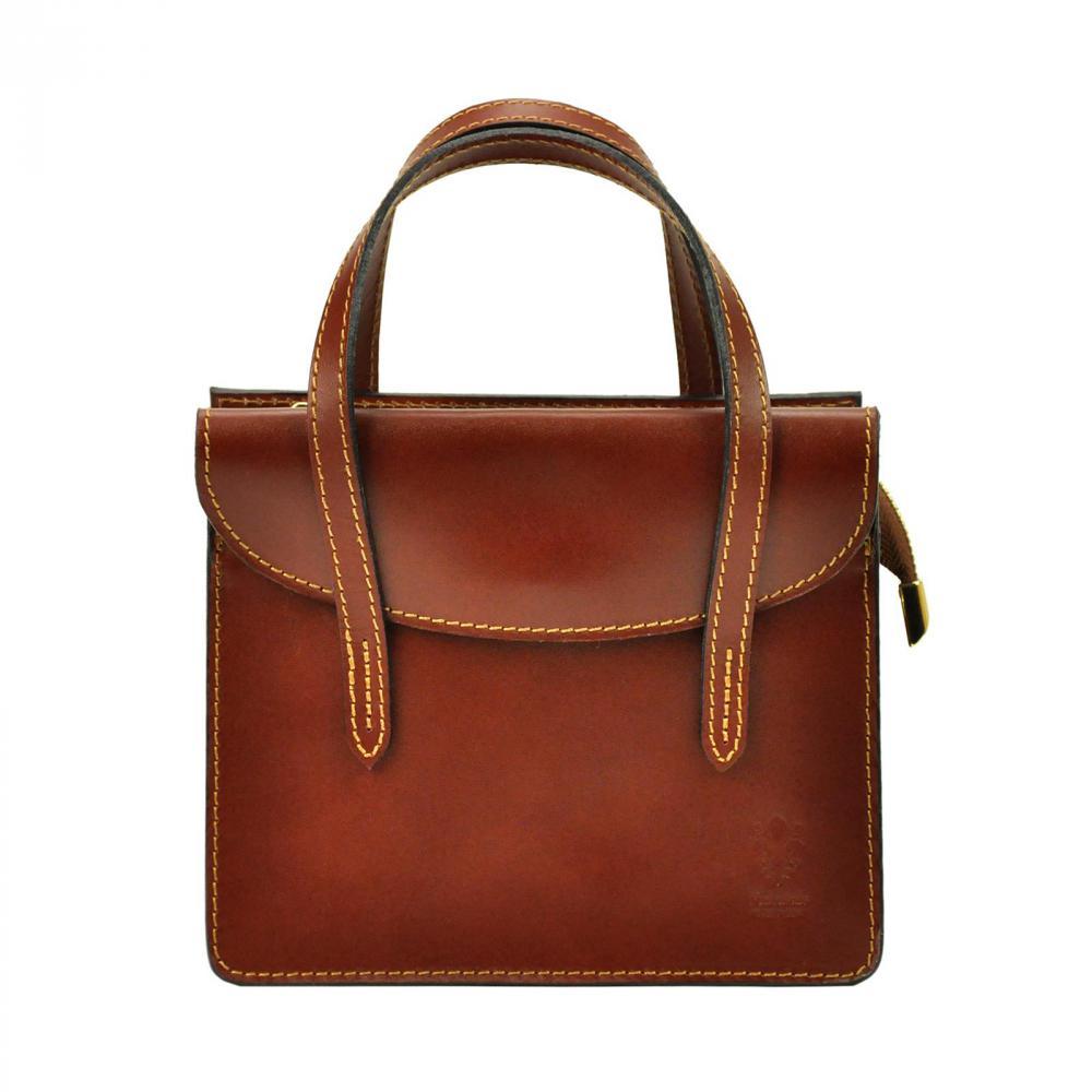 Kožená hnědá crossbody kabelka do ruky v minimalistickém designu Gregorio