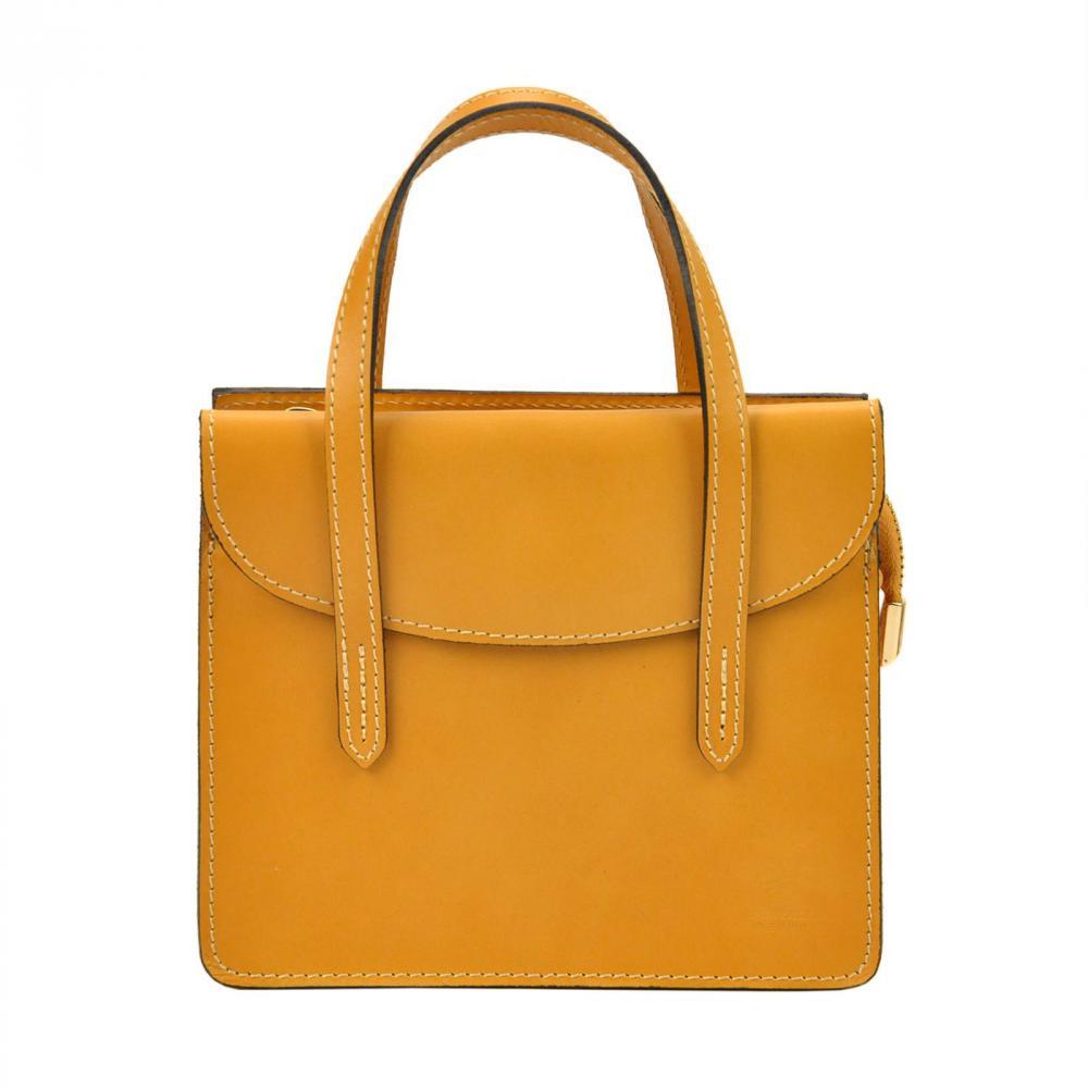 Kožená horčicovo žltá crossbody kabelka do ruky v minimalistickom dizajne Gregorio