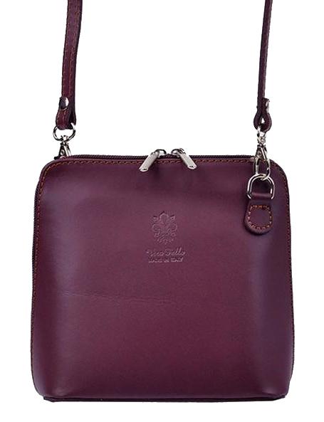 Kožená malá dámska crossbody kabelka matná fialová