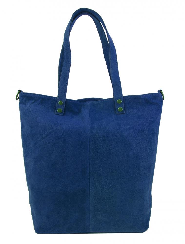 Kožená velká modrá broušená praktická dámská kabelka