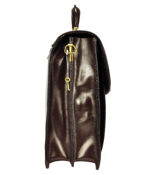 GREGORIO Kožená veľká tmavo hnedá pánska aktovka