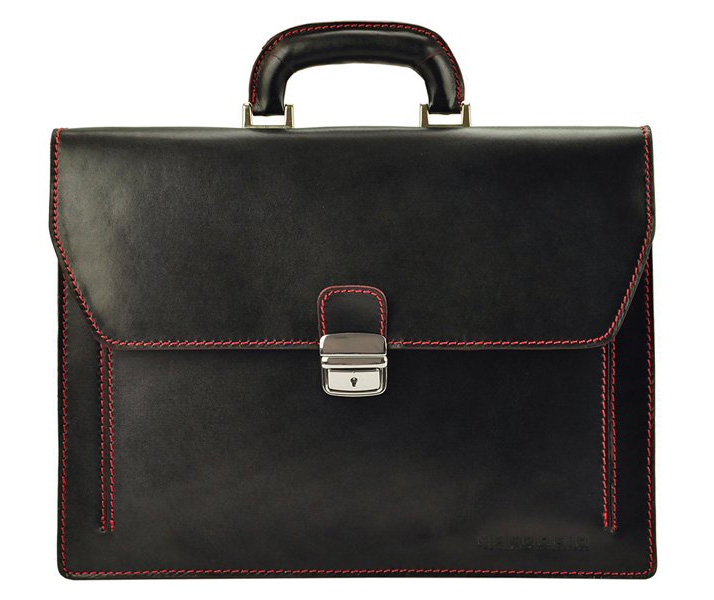 GREGORIO Kožená elegantná pánska aktovka čierna s červenými švami