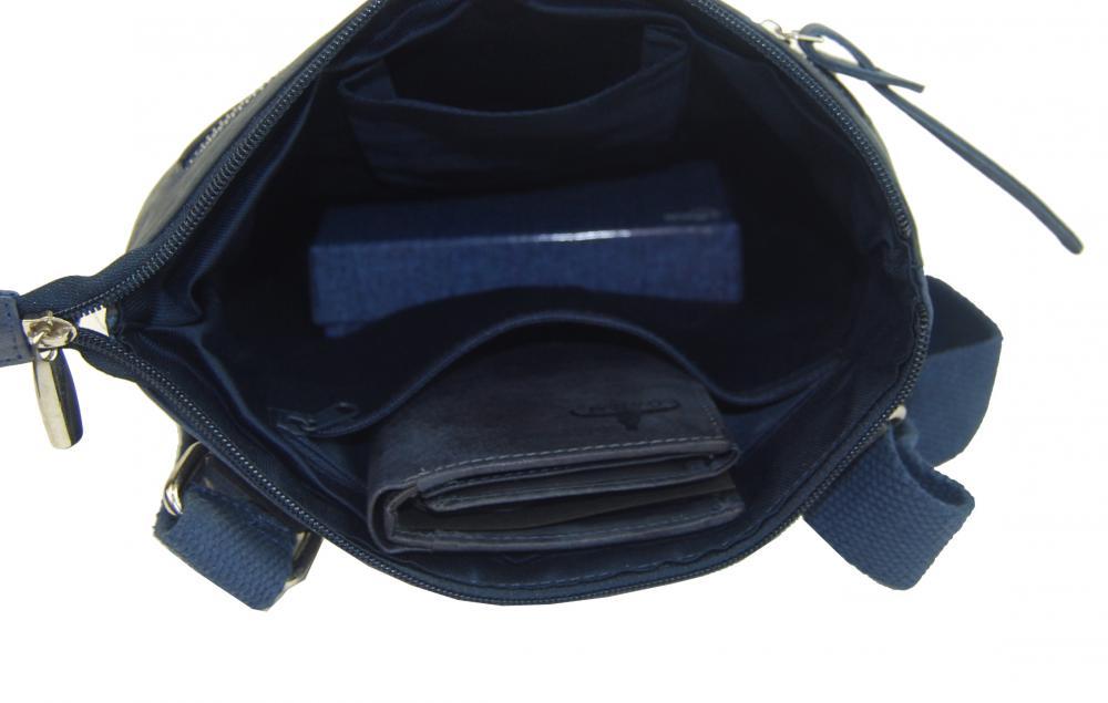 WILD Kožená pánska crossbody taška modrá