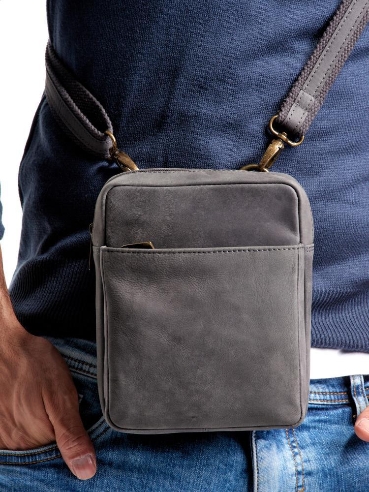 WILD Kožená pánska crossbody taška tmavo šedá 16x20x7 cm