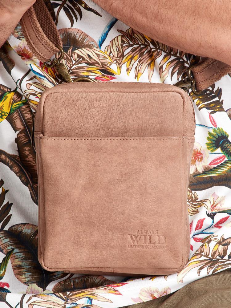 WILD Kožená pánska crossbody taška hnedá 16x20x7 cm