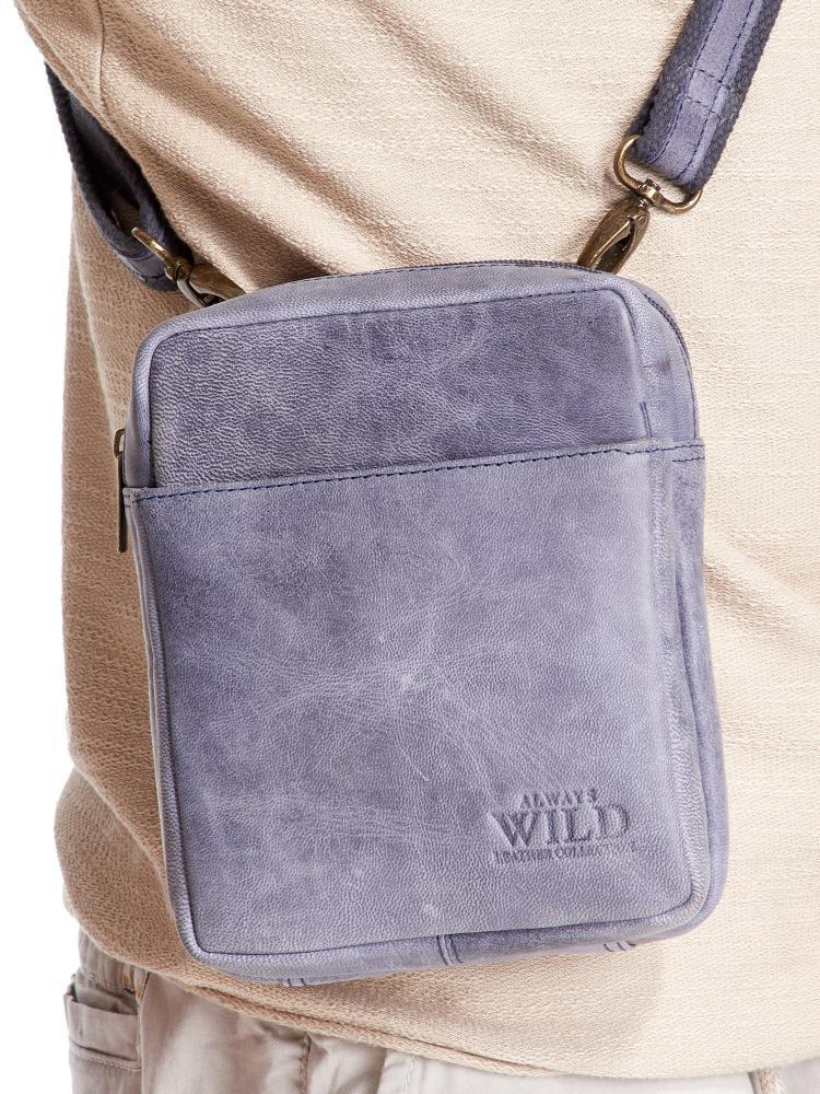 WILD Kožená pánska crossbody taška tmavo modrá 16x20x7 cm