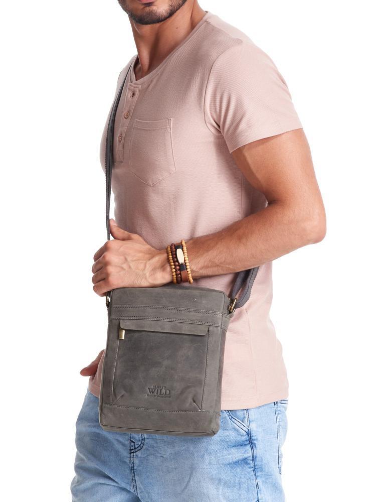 WILD Kožená pánská crossbody taška tmavě šedá 20x25x6 cm