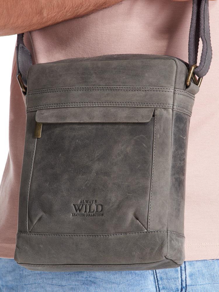 WILD Kožená pánska crossbody taška tmavo šedá 20x25x6 cm