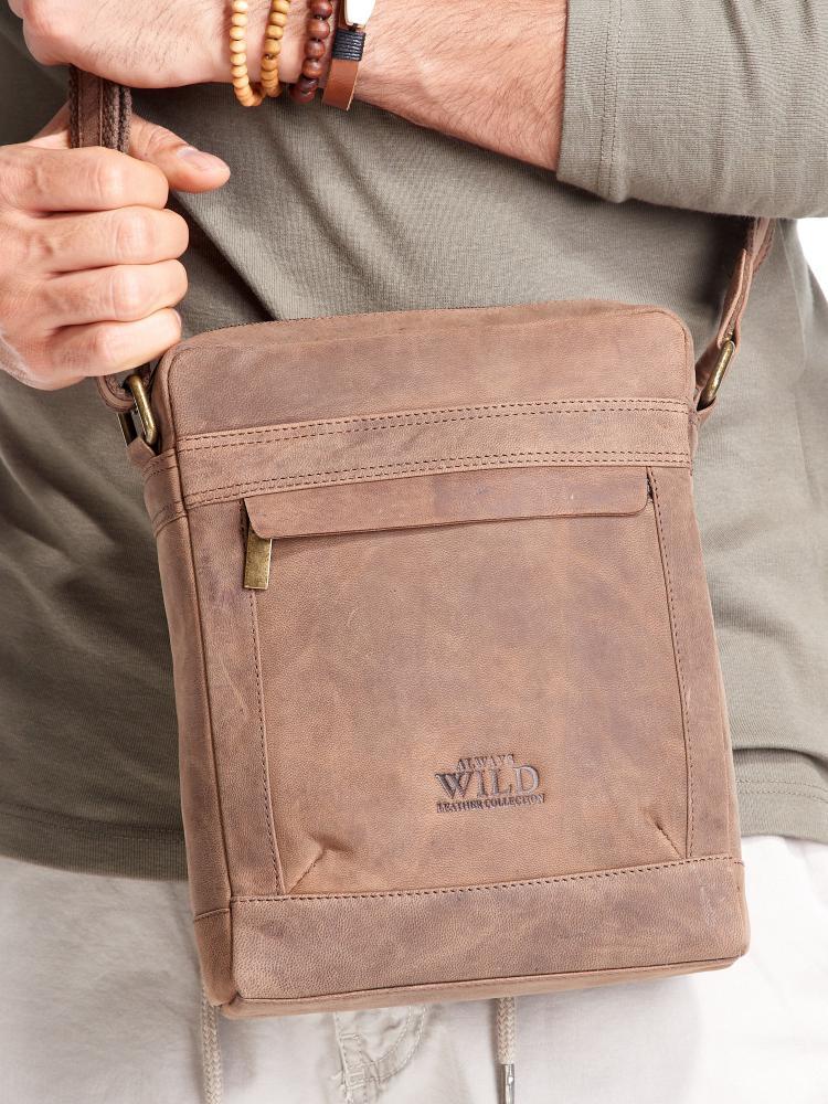 WILD Kožená pánska crossbody taška tmavo hnedá 20x25x6 cm