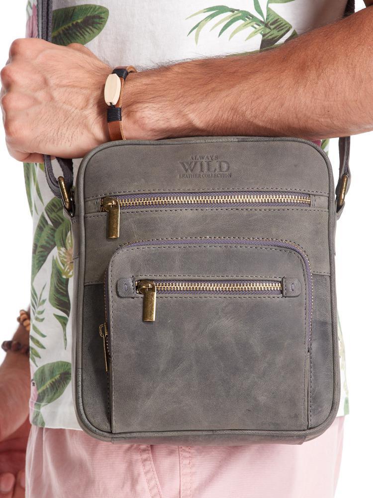 WILD Kožená pánska crossbody taška tmavo šedá 21x25x5 cm