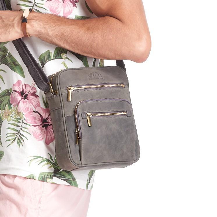 WILD Kožená pánská crossbody taška tmavě šedá 21x25x5 cm