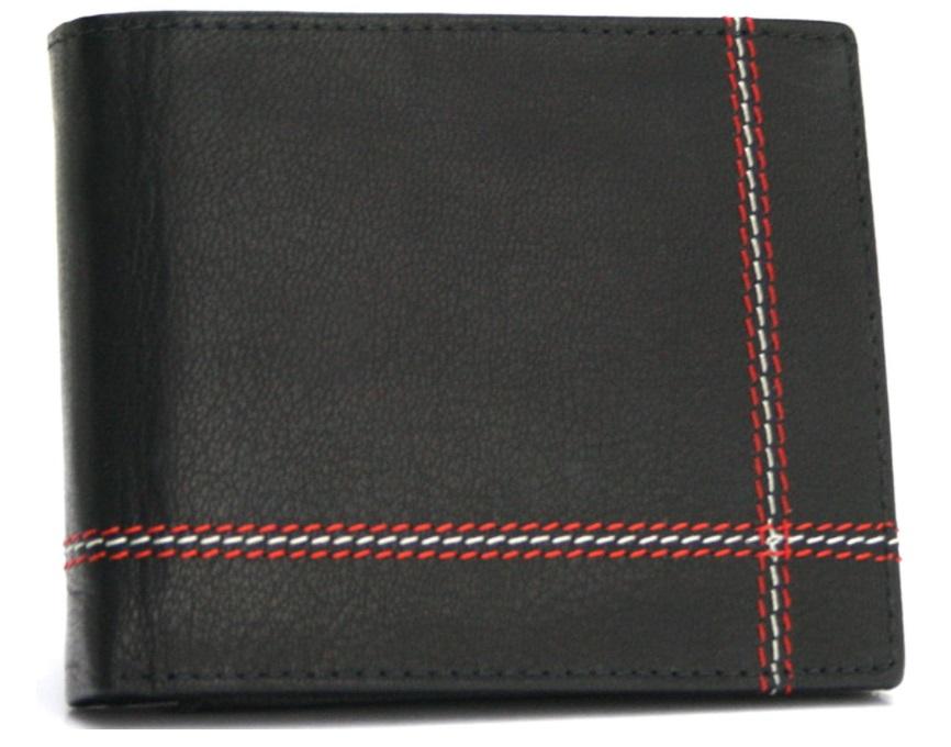 Bellugio Kožená černá pánská peněženka s ozdobným prošíváním v dárkové krabičce