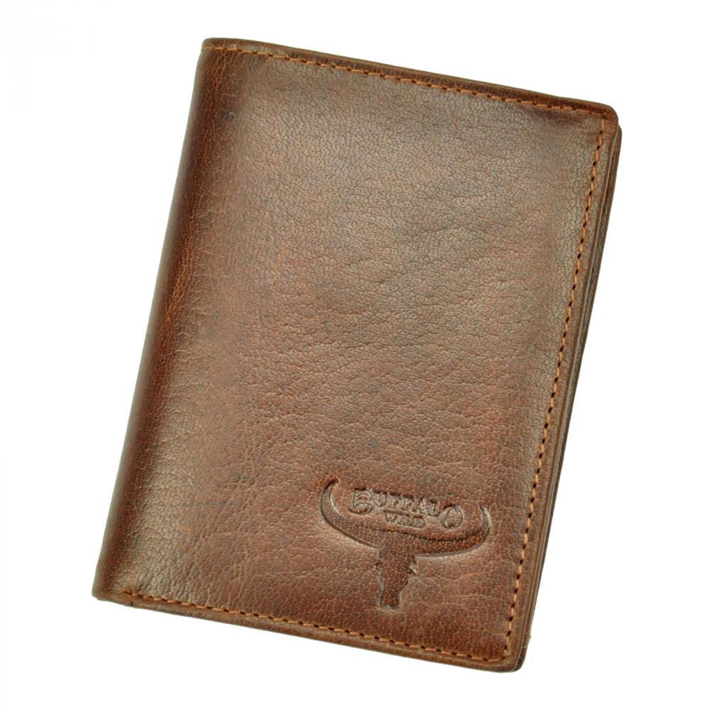 Kožená pánska peňaženka koňaková hnedá RFID v krabičke BUFFALO WILD
