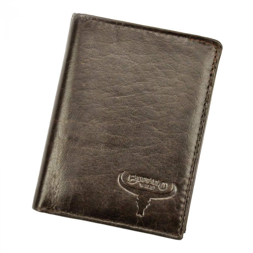 Kožená pánska peňaženka tmavo hnedá RFID v krabičke BUFFALO WILD