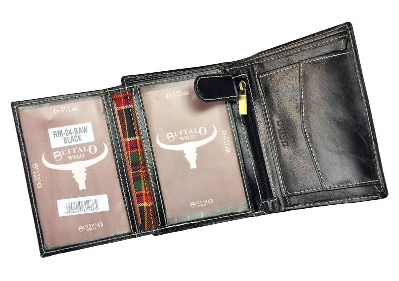 Čierna pánska kožená peňaženka v krabičke BUFFALO WILD