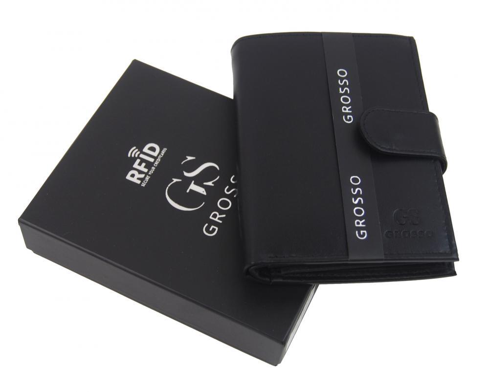 GROSSO Kožená pánská peněženka černá RFID se zápinkou v krabičce
