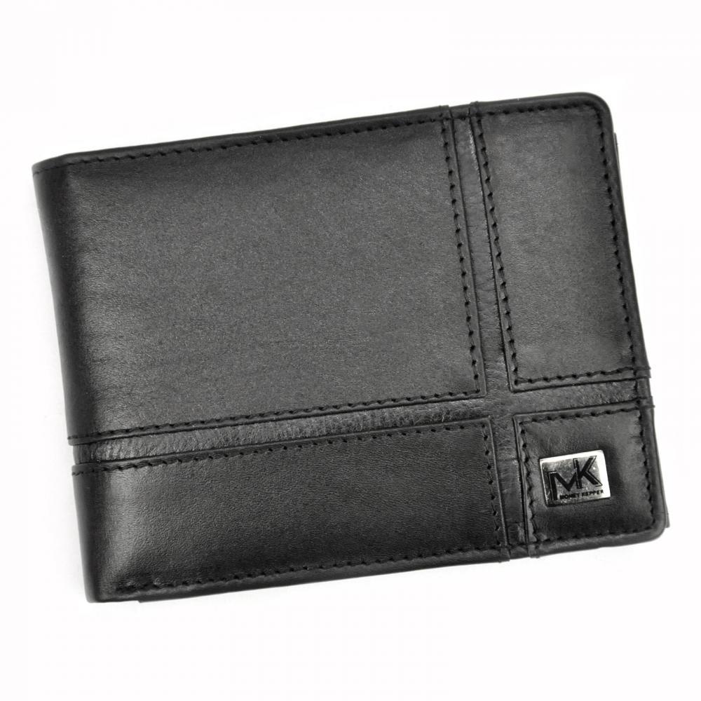 Money Kepper kožená čierna pánska RFID peňaženka v darčekovej krabičke