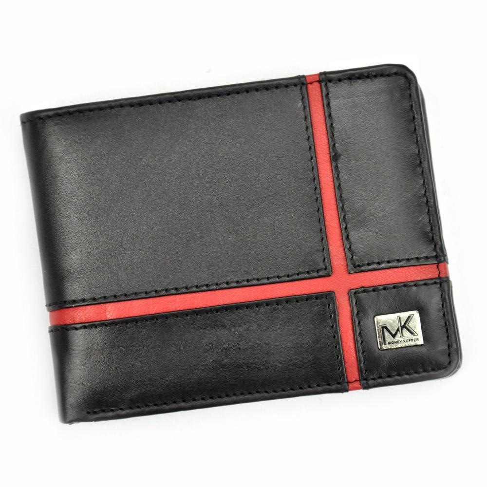 Money Kepper kožená čierno-červená pánska RFID peňaženka v darčekovej krabičke