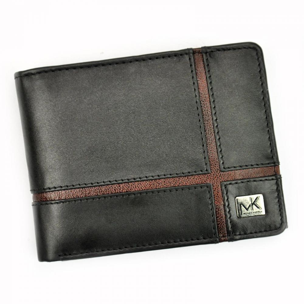 Money Kepper kožená čierno-hnedá pánska RFID peňaženka v darčekovej krabičke