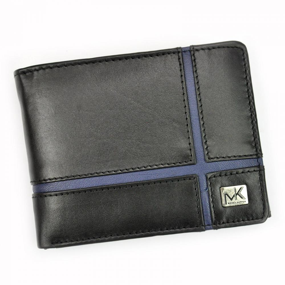 Money Kepper kožená čierno-modrá pánska RFID peňaženka v darčekovej krabičke