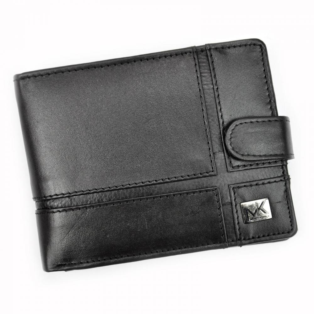 Money Kepper kožená čierna pánska RFID peňaženka so zápinkou v darčekovej krabičke
