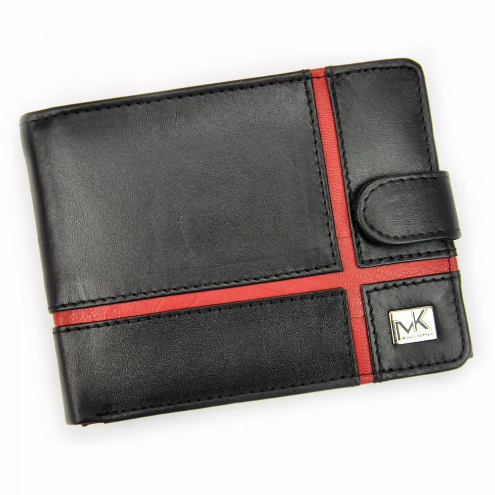 Money Kepper kožená čierno-červená pánska RFID peňaženka so zápinkou v darčekovej krabičke