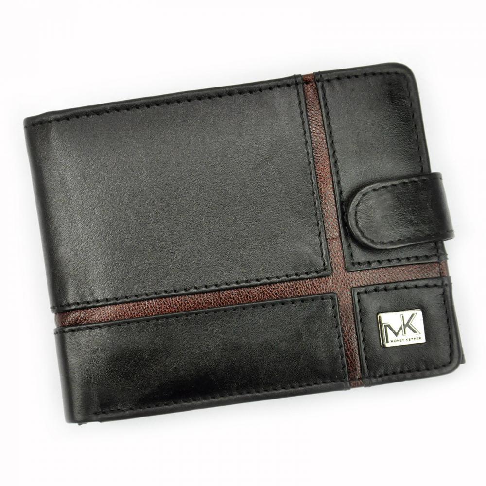 Money Kepper kožená černo-hnědá pánská RFID peněženka se zápinkou v dárkové krabičce