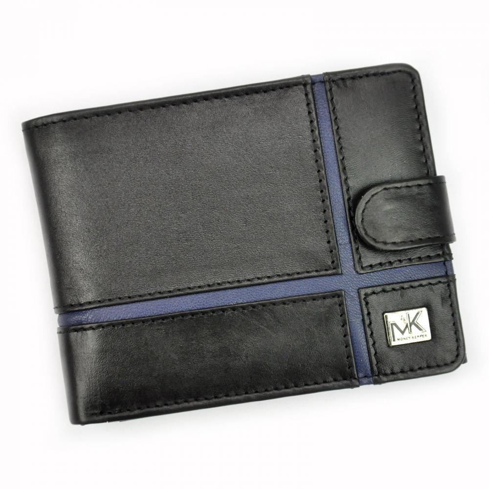 Money Kepper kožená čierno-modrá pánska RFID peňaženka so zápinkou v darčekovej krabičke