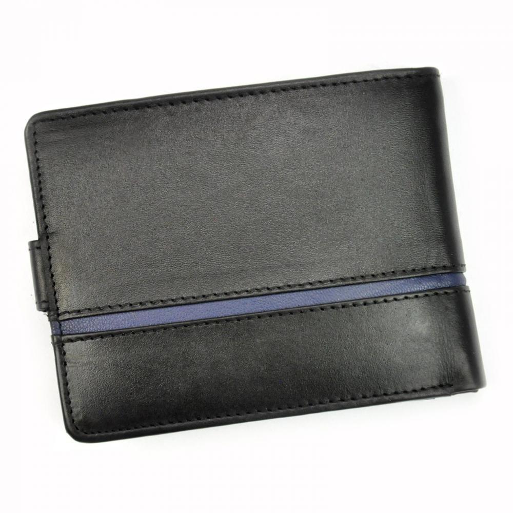 Money Kepper kožená čierno-hnedá pánska RFID peňaženka so zápinkou v darčekovej krabičke