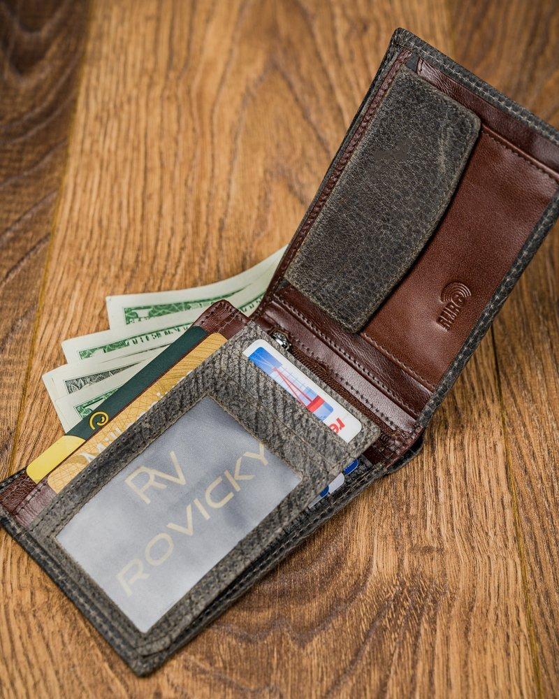 Kožená šedá pánska peňaženka v krabičke RFID Forever Young