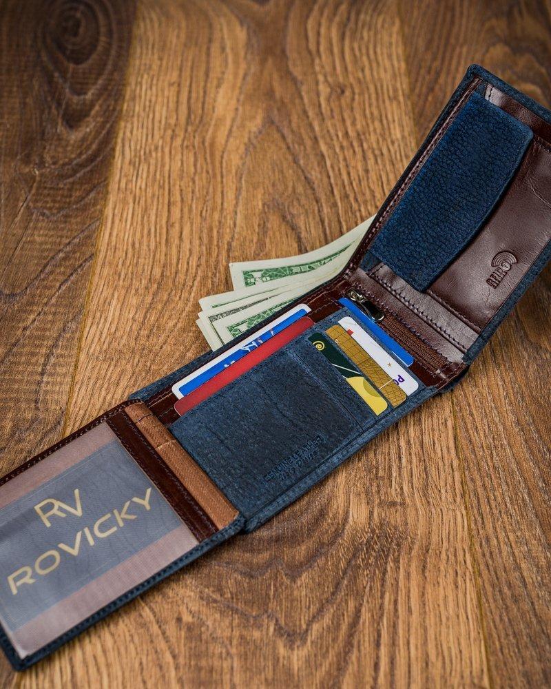Kožená modrá pánska peňaženka v krabičke RFID Forever Young