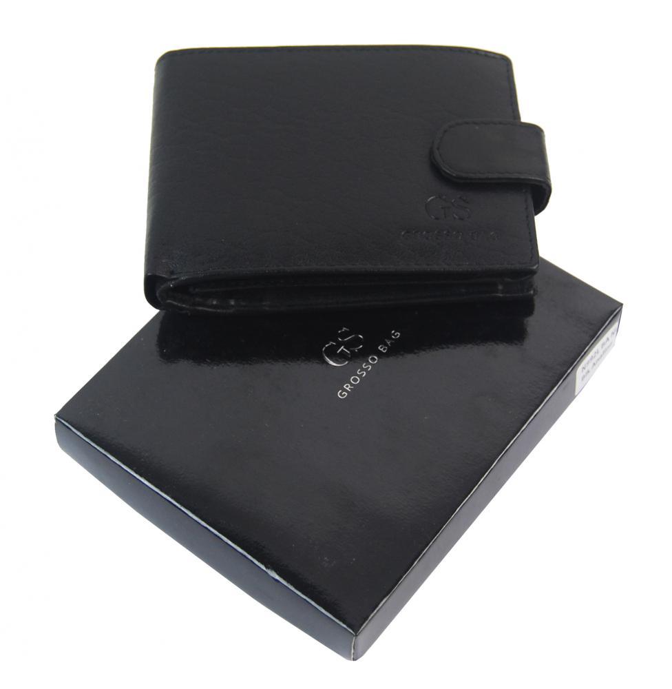 Kožená pánská peněženka černá se zápinkou v krabičce GROSSO